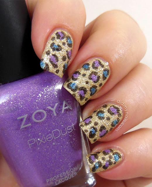 textured leopard print nail art