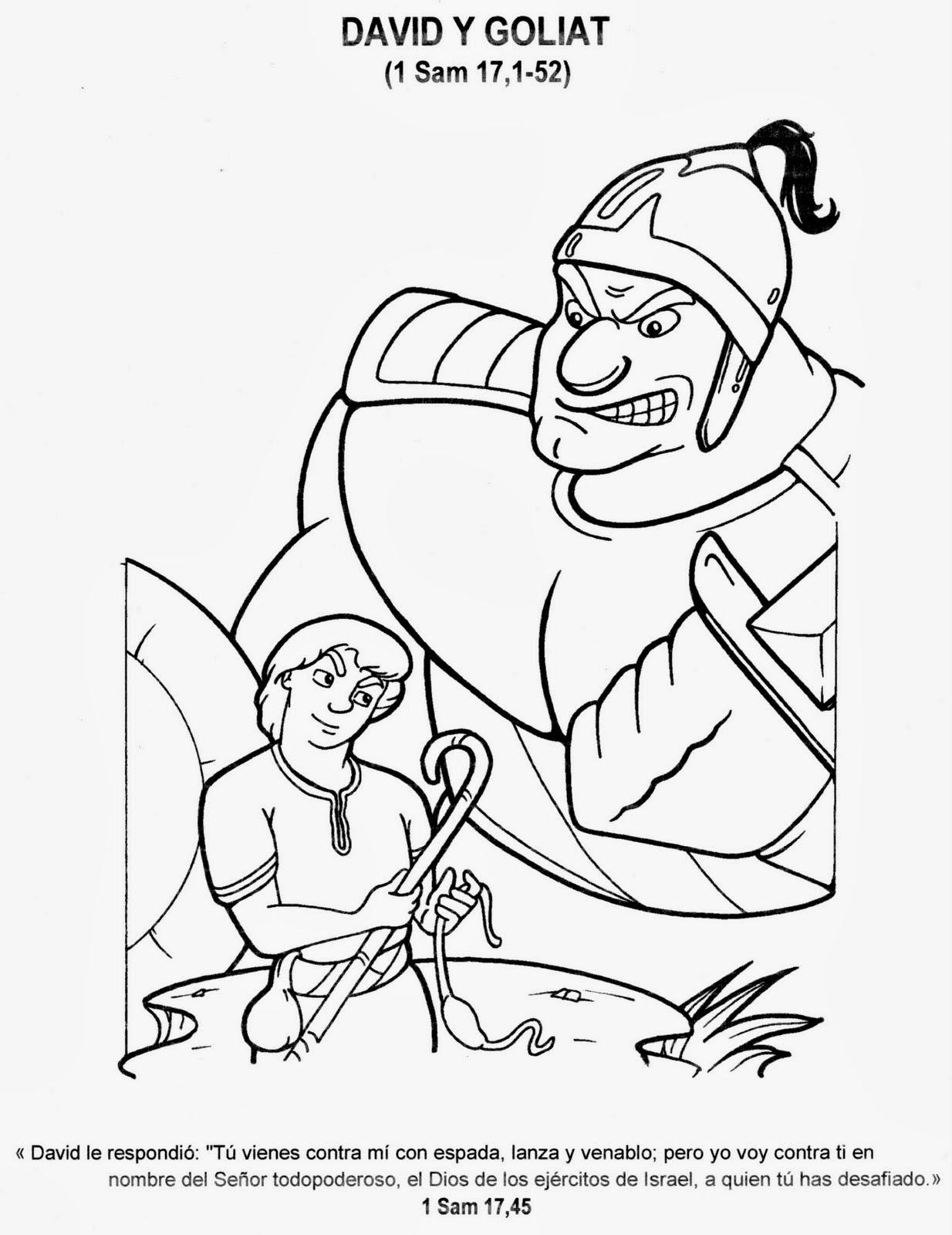 Lamina cristiana de David y Goliat para colorear ~ Dibujos ...