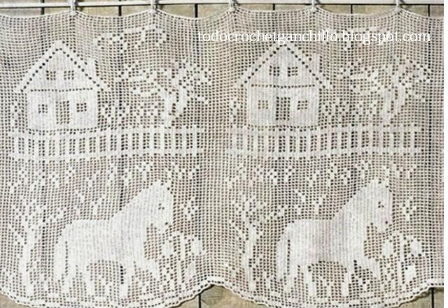 Cortinas en Crochet Filet / 4 Patrones Gratis   Todo crochet