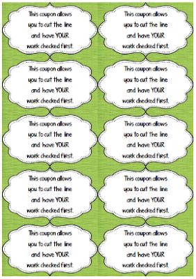 Free printable teacher homework coupons