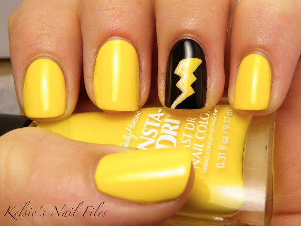 yellow nail polish design