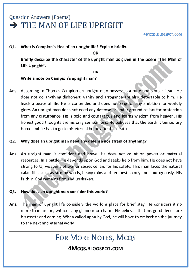 Mcq English Xii The Man Life Upright Question Answers