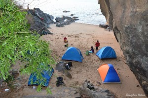 Camping site on private and lonely sea beach
