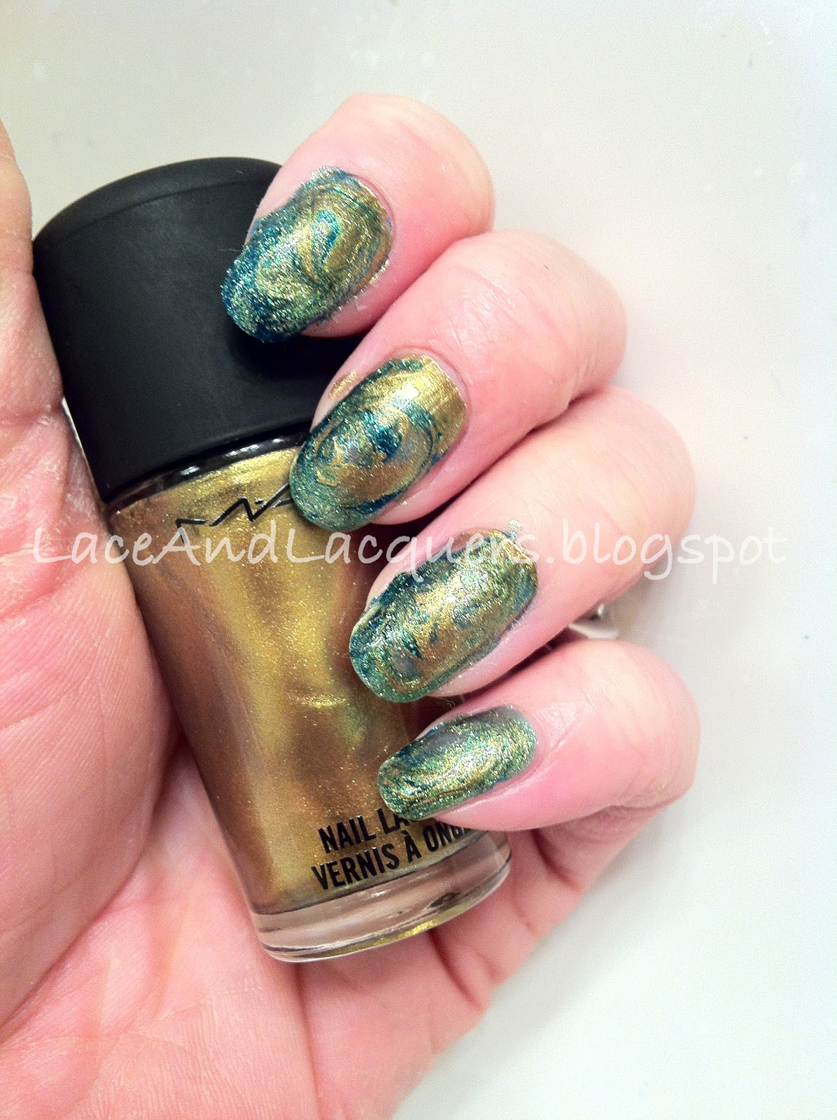 DIY Marbling MAC Immortal Gold, Zoya Charla and Zoya Apple