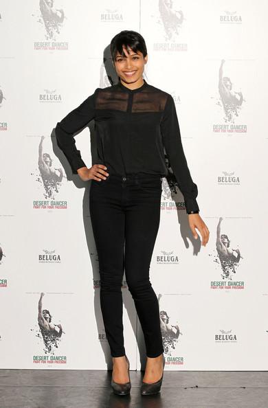 Actress Freida Pinto at the Desert Dancer photo call