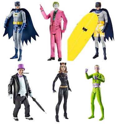 "Batman 1966 TV Series Action Figure Toy Line by Mattel - Adam West's Batman, Cesar Romero's The Joker, Adam West's ""Surf's Up"" Batman, Burgess Meredith's The Penguin, Julie Newmar's Catwoman & Frank Gorshin's The Riddler"