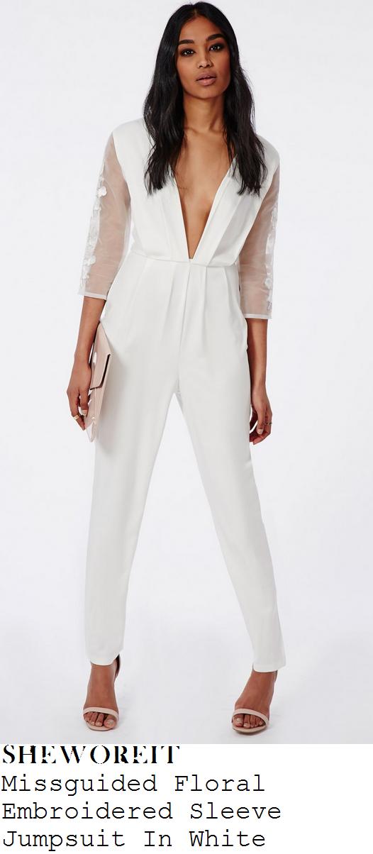 ferne-mccann-white-plunge-front-sheer-embroidered-sleeve-jumpsuit