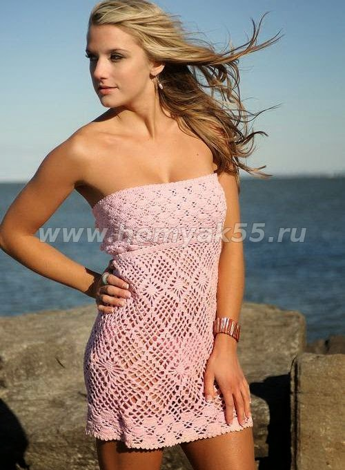 Vestido de playa de dama crochet