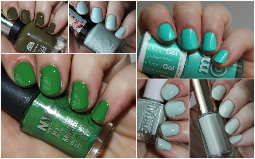 10 Green nail polishes, hanging on the wall - Green polishes for St ...