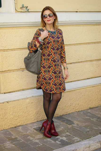 baroque print dress, firmoo sunglasses, icone boots, Givenchy Nightingale bag, Fashion and Cookies, fashion blogger