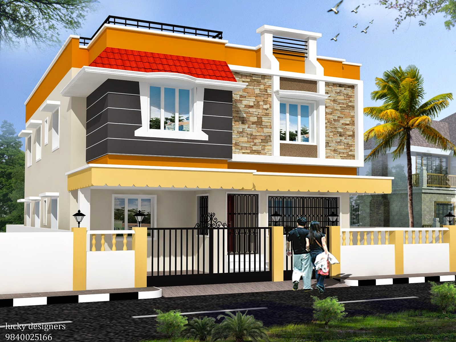 Luckydesigners 3d elevation residential building 3d house builder online