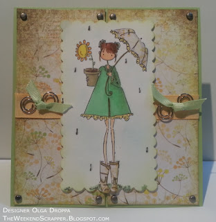 Handmade card in yellow and green spring colors