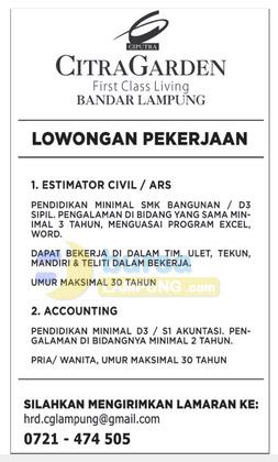 Lowongan Kerja Lampung Jumat 26 September 2014 di Citra Garden