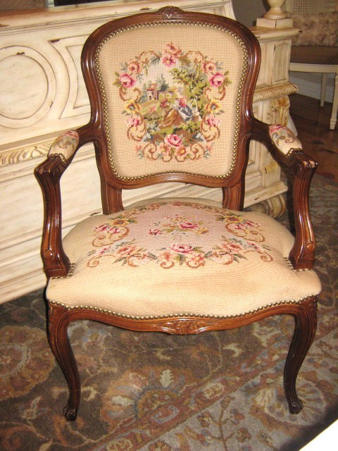 Fantabulous Louis XVI Style Needlepoint Chair! This Is A Definate Keeper,  For Now..... Just Had To Share!