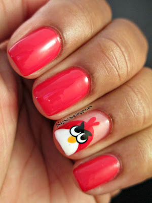 red, angry birds, china glaze, hey sailor, nails, nail art, nail design, mani