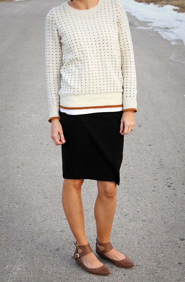Vintage sweater, pencil skirt, flats and cute glasses from DAVID KIND #spon
