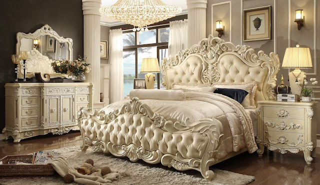 amazing california king bedroom set with big white bed with headboard and single vanity with soft rug