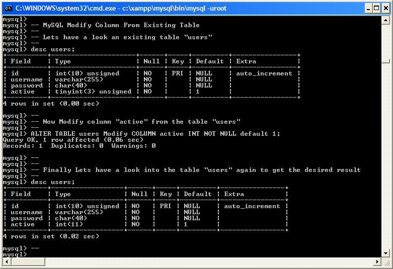 Examples modify column from mysql existing table example - Alter table sql server example ...