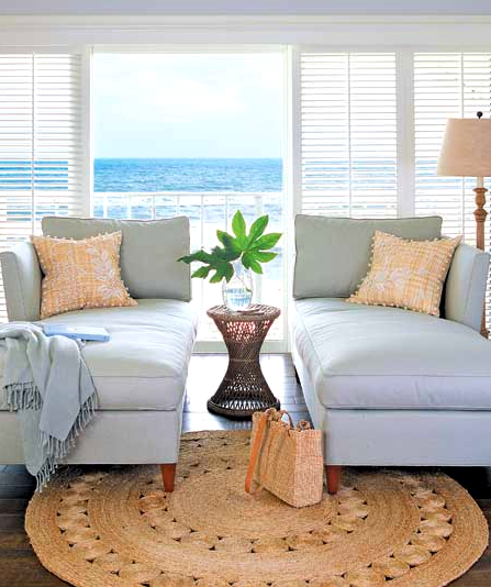 Living Room With Round Rug: Coastal Decorating With Round Natural Fiber Rugs -Shop The