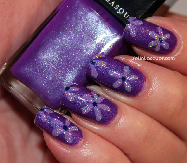 Glittery floral nail art using Illamasqua Poke