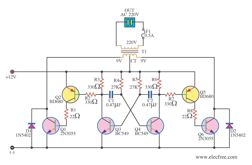 2N3055 Inverter Circuit Diagram | Simple 12v To 220v 180w Inverter Circuit Diagram Using 2n3055 Elexware