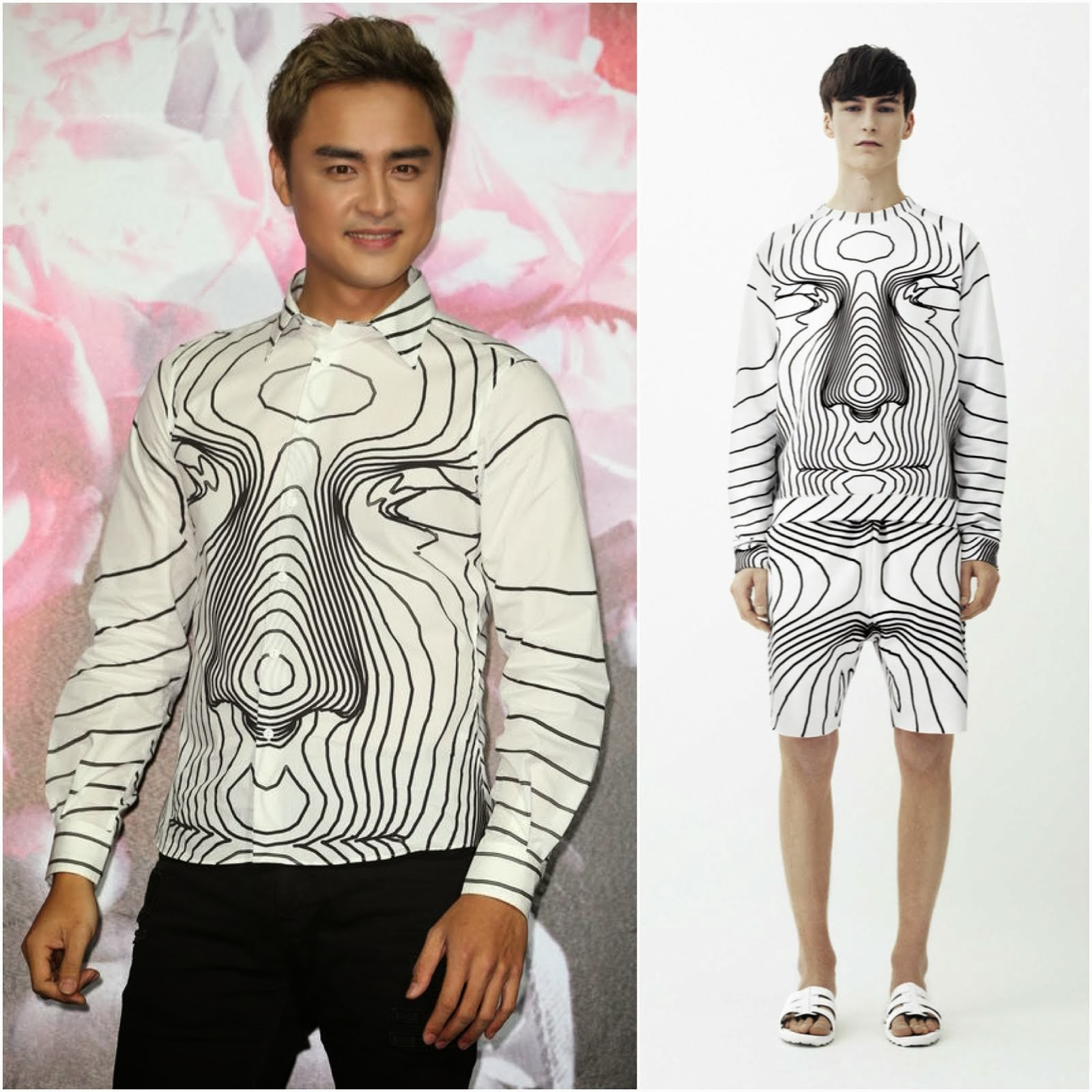 Ming Dao in Christopher Kane SS2014 face digital shirt - 'Lovelorn Aesthetics 失恋美学' album release press conference 明道亮相首张个人专辑发布会