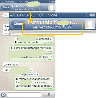 "Informacion ""ult. vez"" en WhatsApp para iPhone"