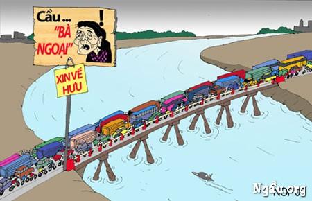 Tranh biếm họa về những cây cầu ở Việt Nam hiện nay
