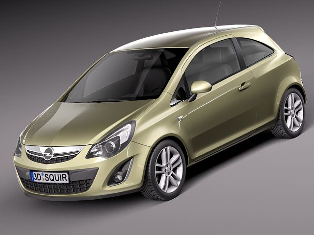 Detailed free 3d model of opel corsa 3 doors 2012 with interior