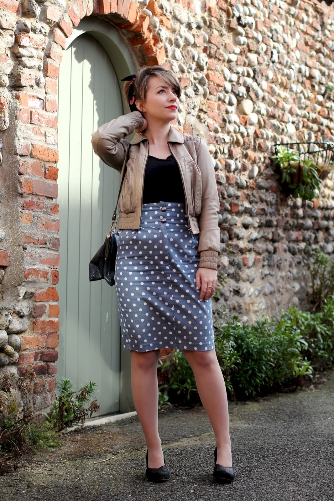 50s inspired leather jacket, headscarf and polka dot pencil skirt