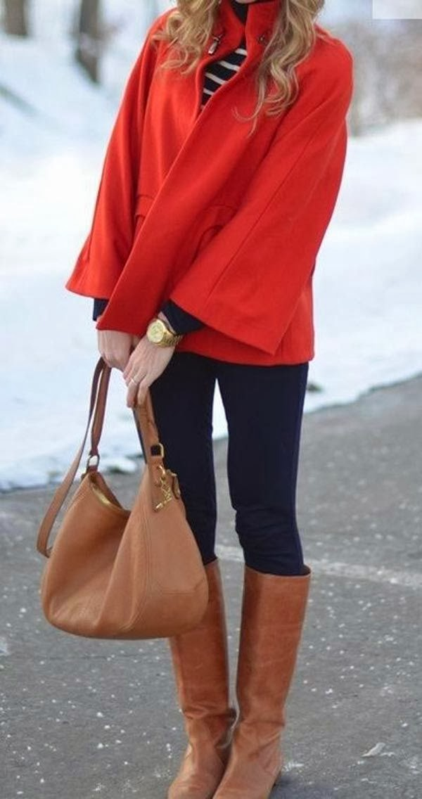 Colorful red jacket, jeans and brown long boots for fall