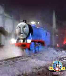 Hidden in the nights miasma Thomas & friends steam train Gordon the tank engine takes a tumble