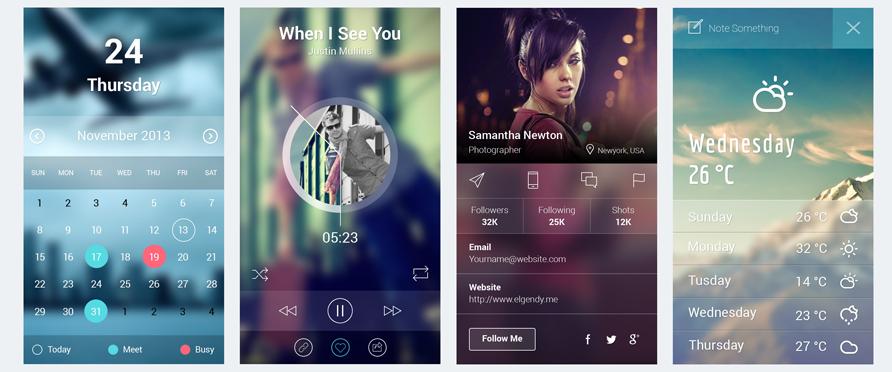 iOS 7 App Screens UI PSD