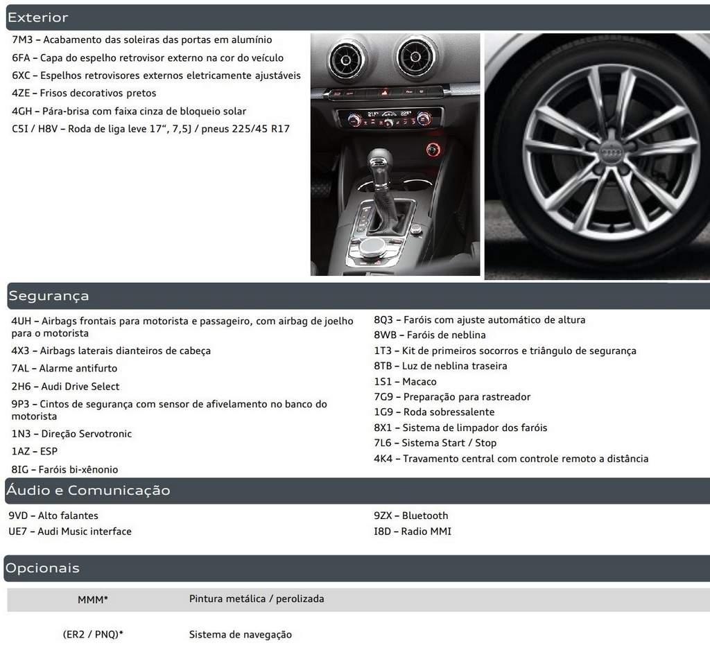 Audi A3 Sedan - itens de série