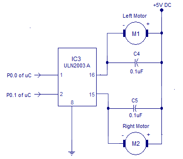 Driver dc motor using ic uln2003a electronic circuit for Dc motor driver ic