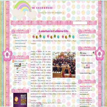 So Colorfull Blogger Template. template girly blog