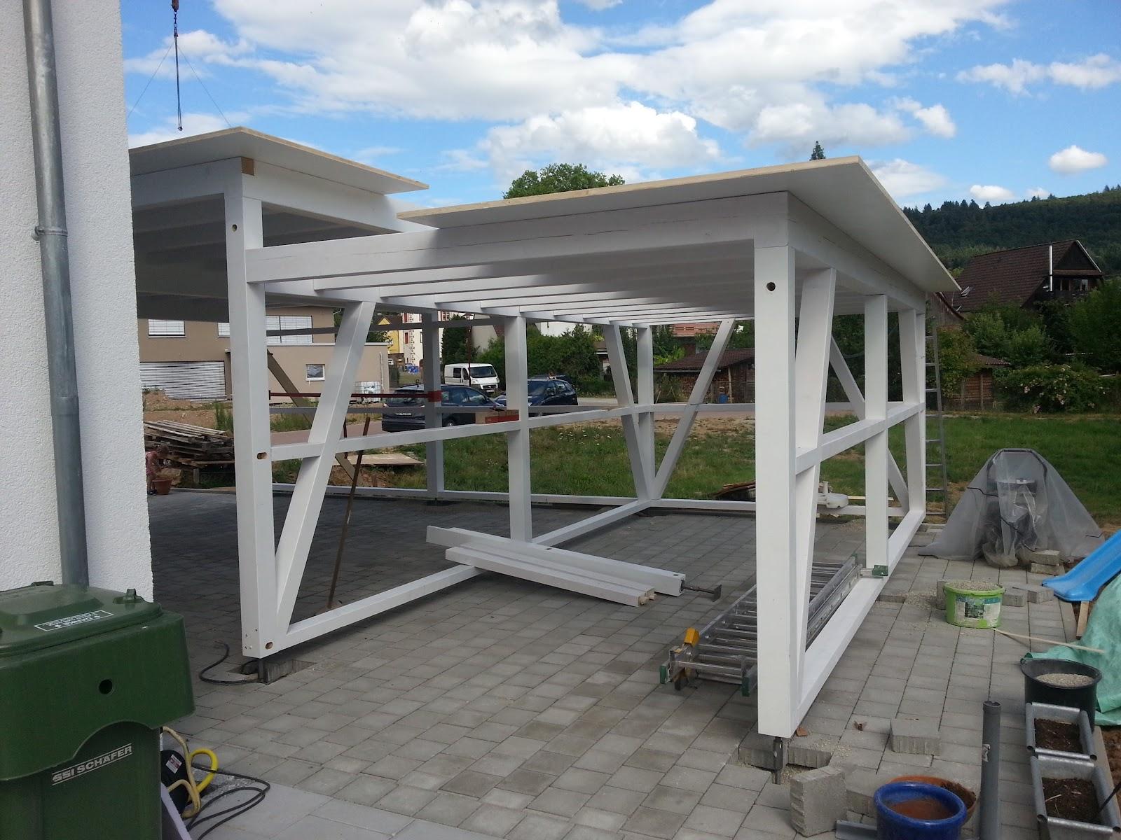 wir bauen ein okal haus der carport schopf kommt. Black Bedroom Furniture Sets. Home Design Ideas