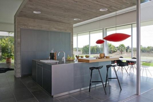 Casa con dise o minimalista de un piso fotos construye for Piso cocinas minimalistas
