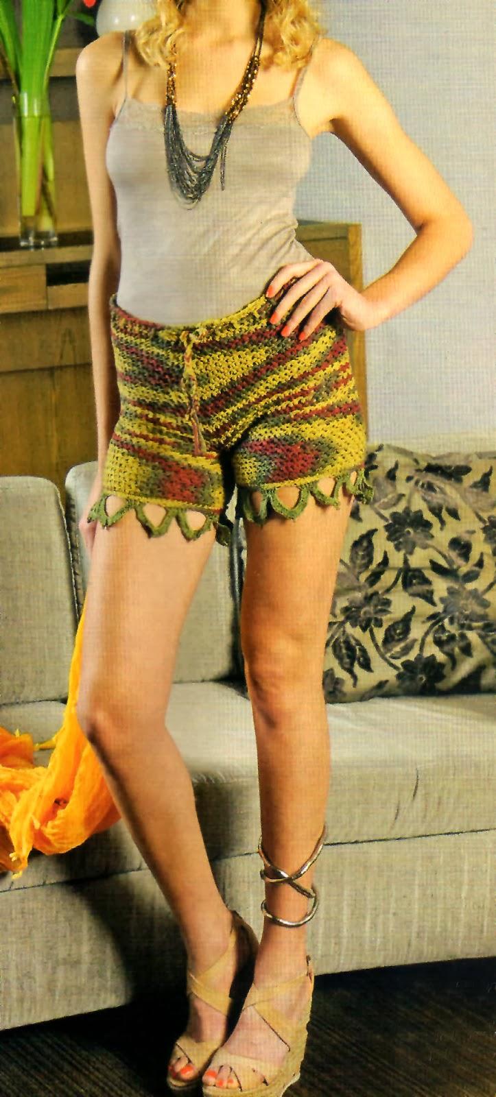 Short Para Verano Con Puntilla Tejido en Crochet