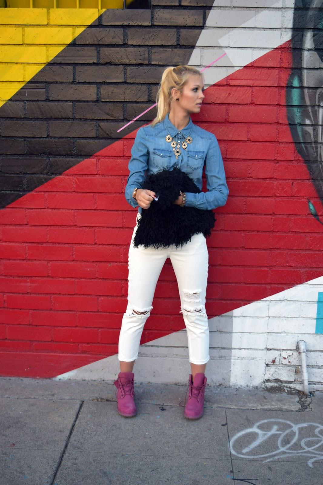 Jeans shirt, denim, white pants, faux fur