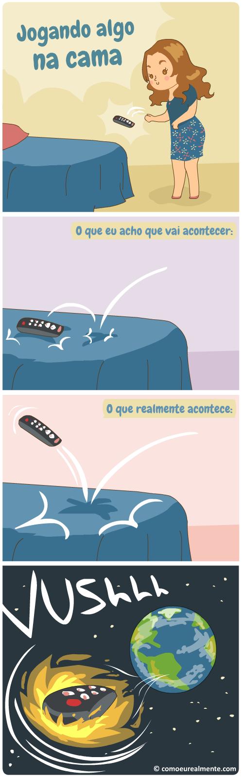 O que realmente acontece quando jogo algum objeto, como meu celular, em cima da cama