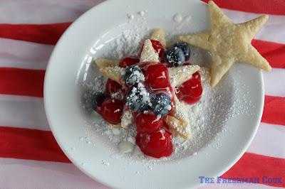 party worthy dessert, 4th of July, patriotic, pie crust, cherries, blueberries, lemon, confectioner's sugar