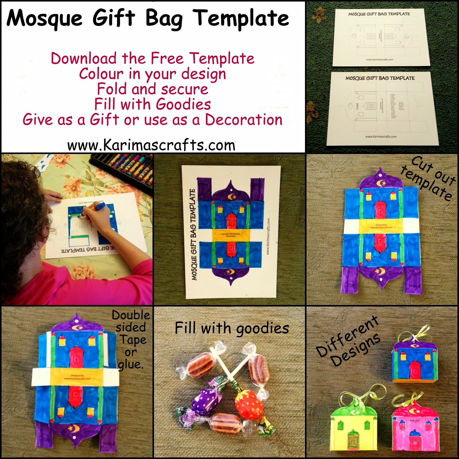 mosque gift bag template ramadan crafts islam muslim
