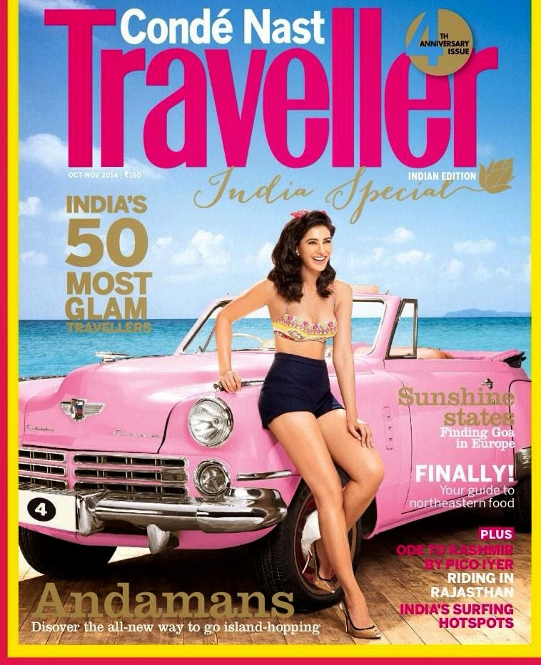 Nargis On The Cover of Conde Nast Traveller India Magazine India Oct-Nov 2014