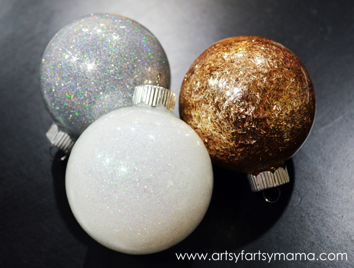DIY Glitter Ornaments at artsyfartsymama.com #glitteratmichaels #Christmas