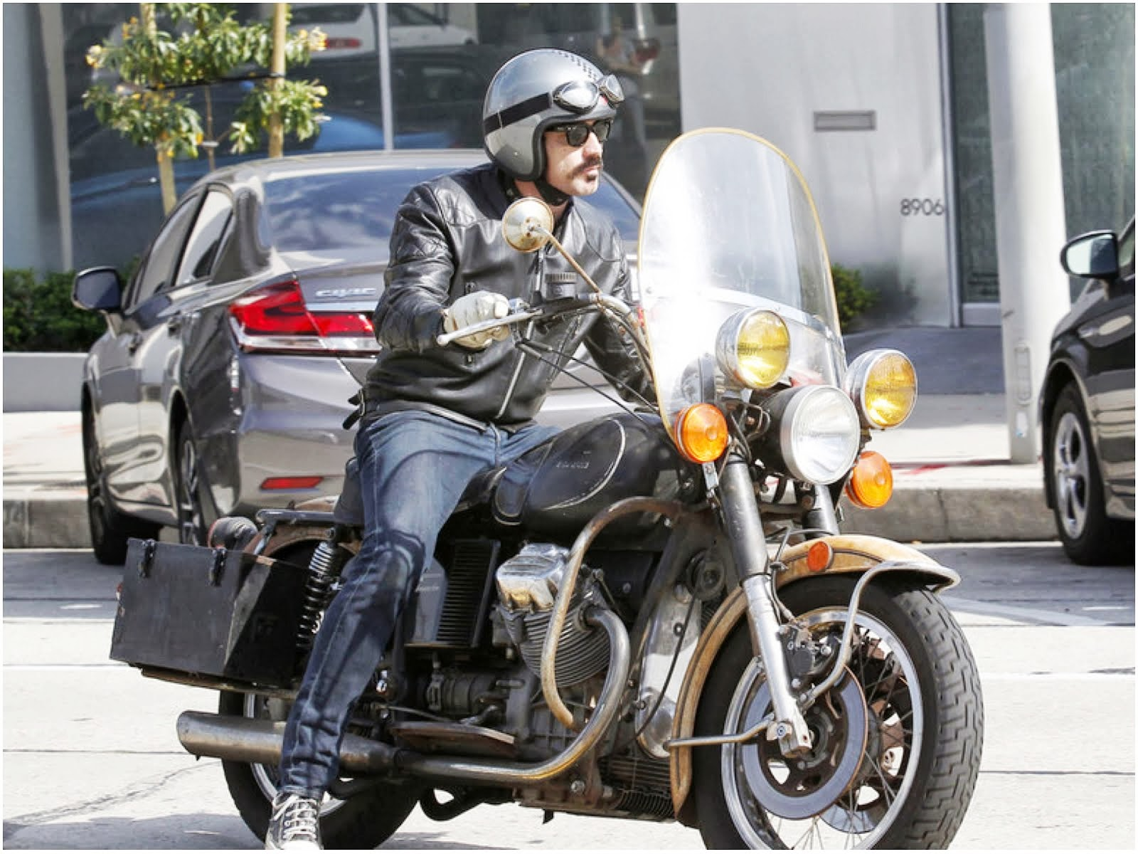 00O00 Menswear Blog: Ewan McGregor in Belstaff Douglas leather biker jacket - Los Angeles Street Style May 2013