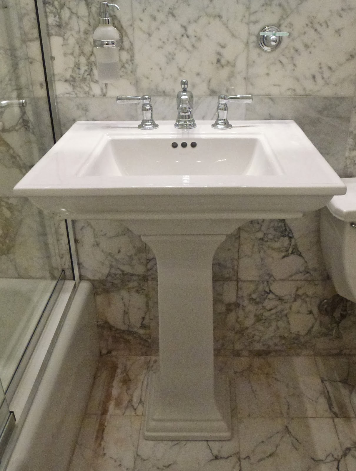 I Chose A New Pedestal Sink From Kohler. Itu0027s So Much Cleaner Looking. I  Also Like Its Simple Lines, And The Separated Hardware As Opposed To The  One Piece ...