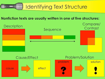 description, sequence, compare and contrast, cause and effect, problem and solution