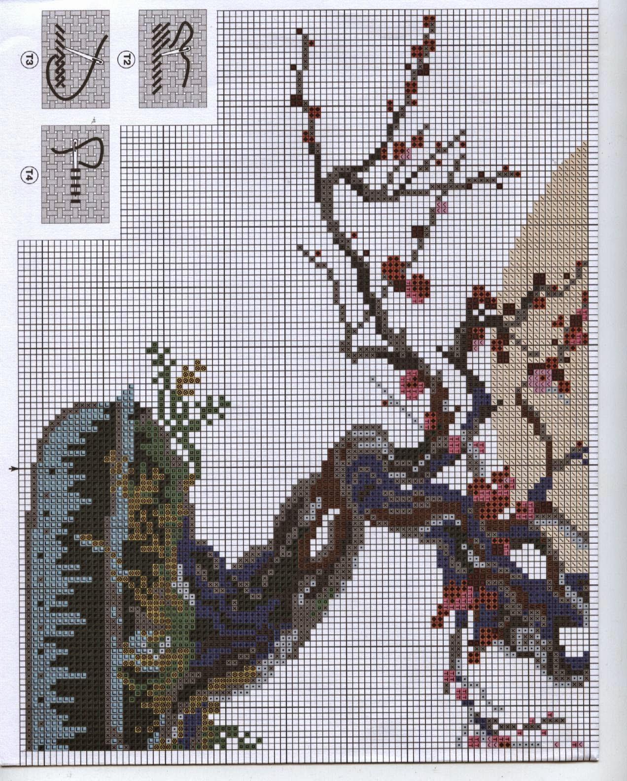схема вышивки триптих цветущая сакура