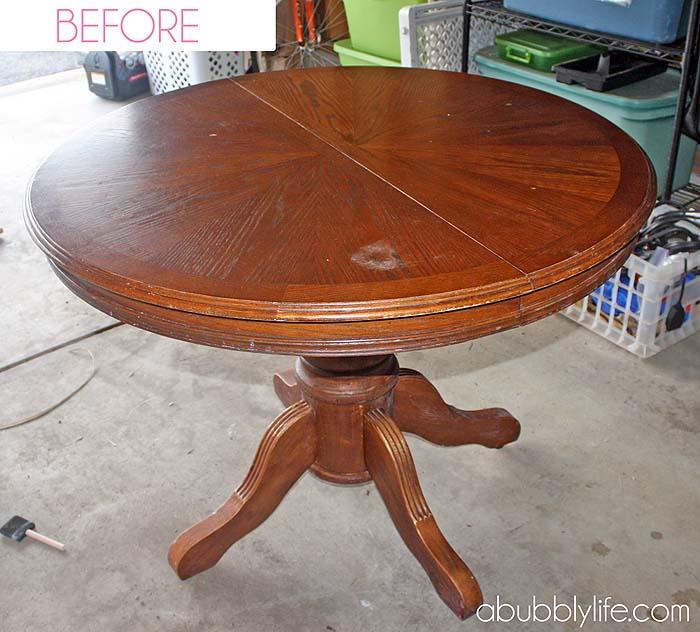 a bubbly life: how to paint a dining room table & chairs! makeover
